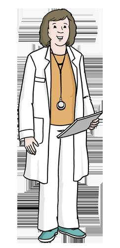 Ärztin hält Schreibblock in der Hand