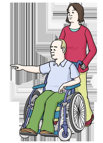 Mann im Rollstuhl mit Assistentin