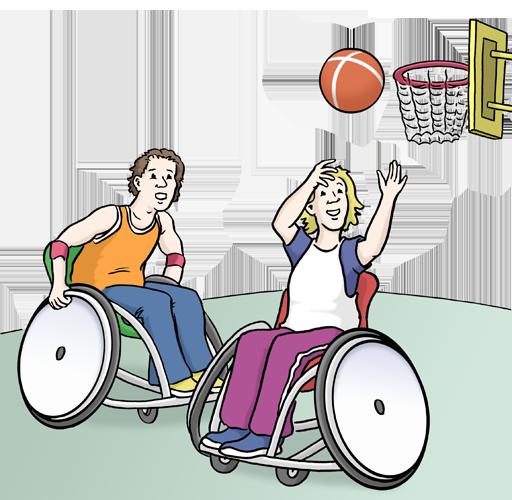 Zwei Rollstuhlfahrer/innen spielen Rollstuhlbasketball