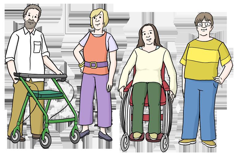 Vier Menschen mit verschiedenen Behinderungen