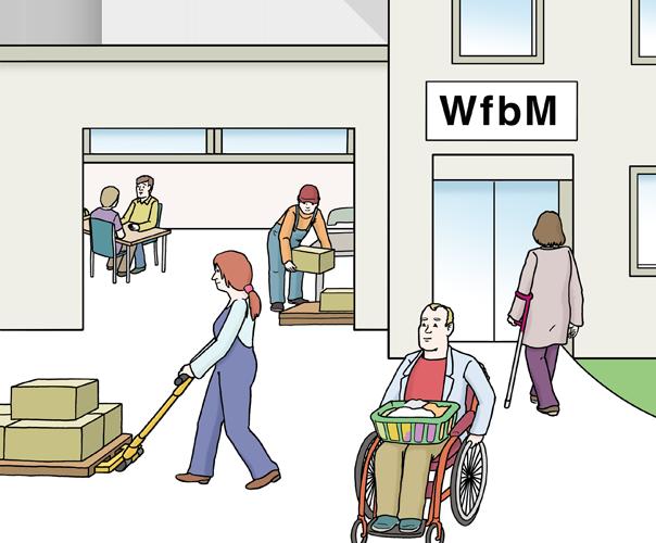 Menschen mit Behinderungen arbeiten in einer Werkstatt