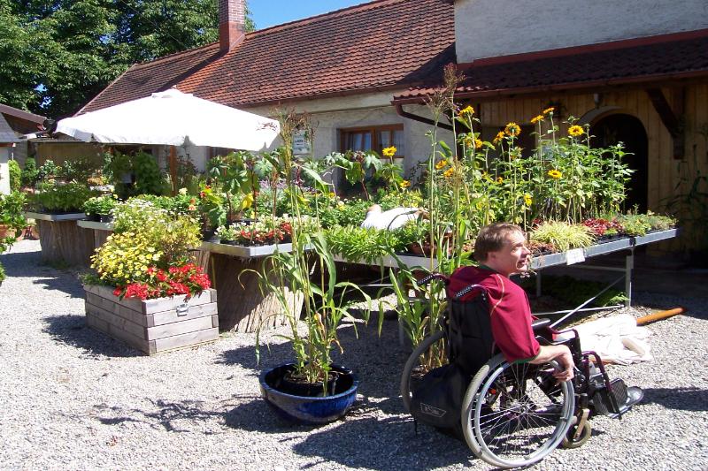 Mann im Rollstuhl schlendert über den Markt der Gärtnerei