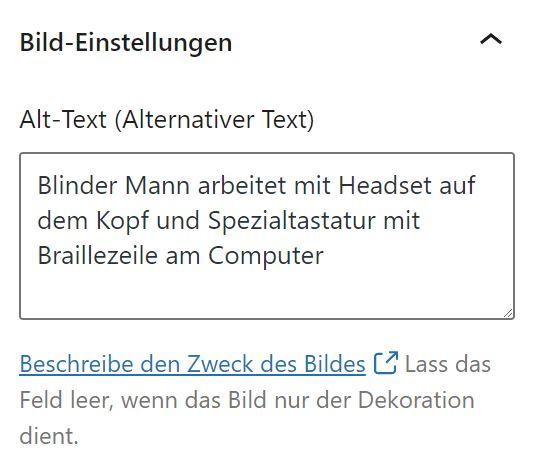 Screenshot aus WordPress Editor mit der Sektion einer alternativ Texteingabe. Dort steht der Inhalt des beschriebenen Bildes sowie der Hinweis, dass man das Bild entweder beschreiben soll oder wenn es sich um ein dekoratives Bild handelt, dass das Bild leer gelassen werden soll.